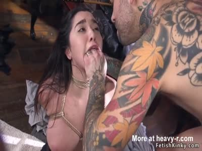 Guy tied up maid and rough fucked her