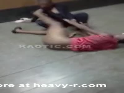 Fight with a naked girl