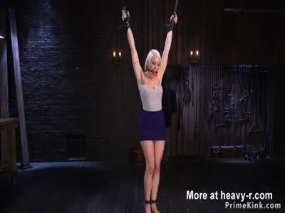 Hot blonde slave gets brutal bondage