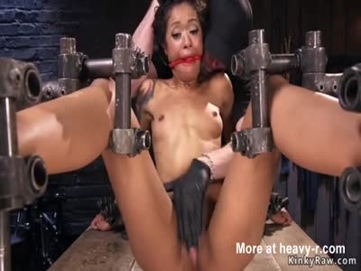 Ebony in device bondage tormented