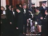 President Clinton meets his hero who accidentally drops his pants