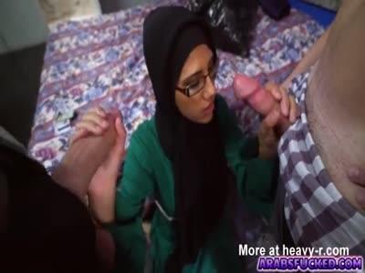 Arab Girl Sucking Two Dicks
