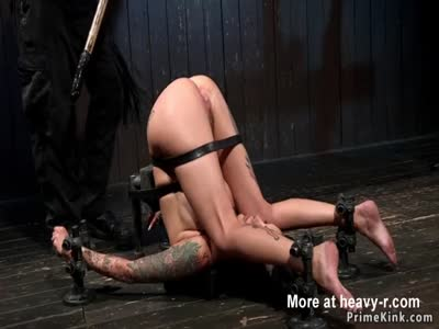 Busty alt brunette in chains gets fisted