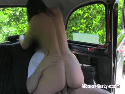 Married Brunette Cheats In Taxi