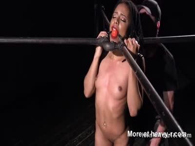 Chained ebony slave anal toyed