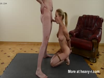 Tied Up Blonde Sucking Cock