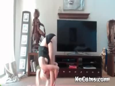 Tiny blonde fake-tits has yoga session