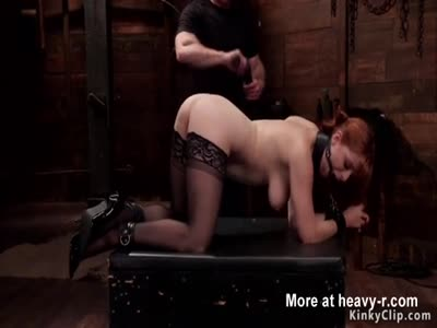 Busty redhead slave ass whipping training