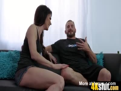 Skinny MILF beauty with big tits is a cock lover whore