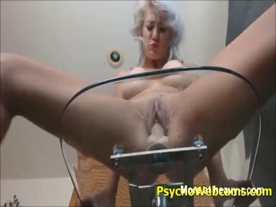 Grey Haired MILF Riding Dildo On Chair
