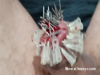 100 needles into cock  and  balls  part 4 of 7