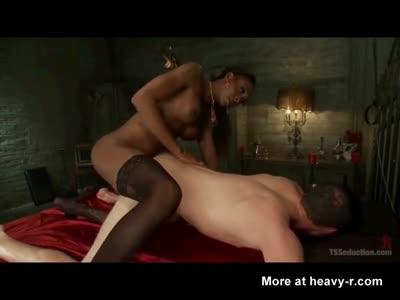 Black Shemale Domme Fucks Slave!