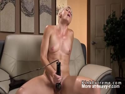 Blonde Drilled ON Fuck Machine
