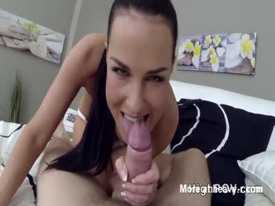 Busty brunette Plays A Big Cock