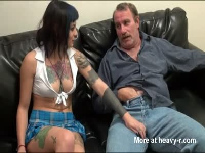 Young Inked Girl Riding Old Dick