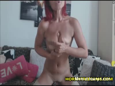 Super Fit And Horny Redhead Fucking Dildo
