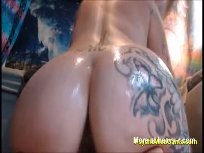 HUGE Tattooed Boobs and Big Booty Rolling in Oil