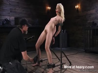 Blonde slave gets dick on a stick