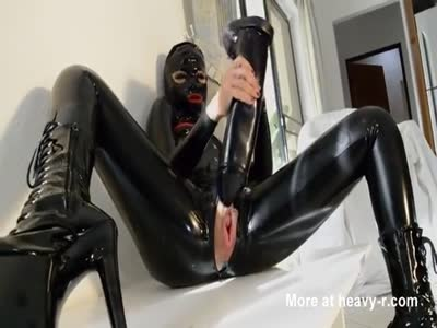 Black Catsuit Lady Fucking Monster Dildo