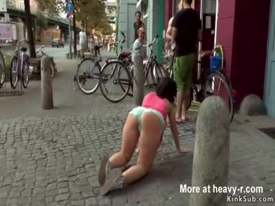 Busty babe fucked and fingered in public