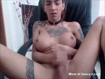Hot Orgasmic Solo By A Heavily Inked Tranny