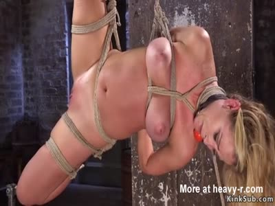 Stunning MILF Gagged In Rope BDSM