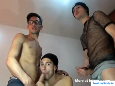 Latin twink blowing Thomas and Damian's cock on webcam