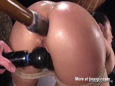 Hogtie slut anal fucked with dildo