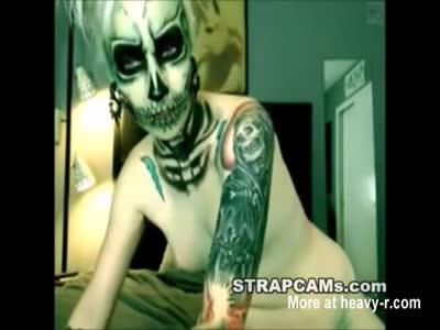 Teen Dressed As Skeleteon