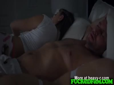 Naughty Stepdaughter Fuck New Daddy Next to Sleeping Mom
