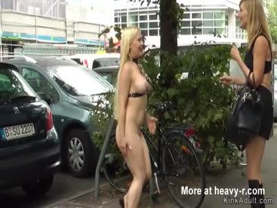 Naked pissing babe disgraced in public