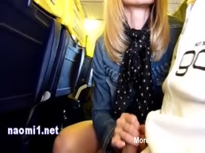 Handjob With Cumshot In Crowded Plane