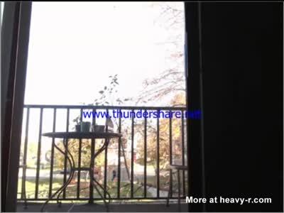 Cum shot on sliding glass door for hot asian teen
