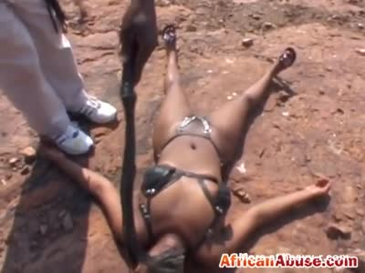 African Teen Abused Outdoor