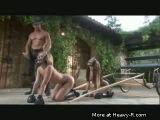 Naked girls pullig carriage