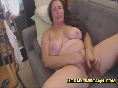 Busty BBW Lady Fucks Dildo