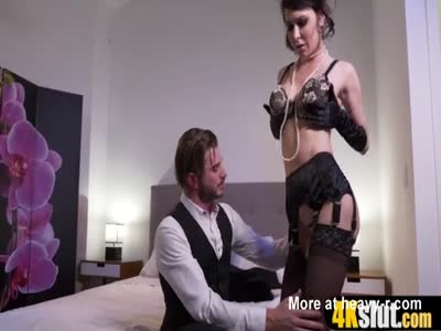 Glamorous cock addict busty MILF in stockings fucked