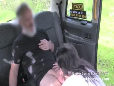 Brunette beauty rims fake taxi driver