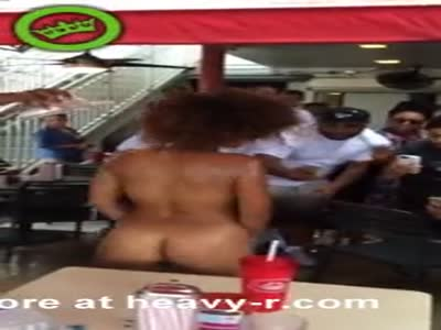 Crazy Ebony Naked In Fast Food Restaurant
