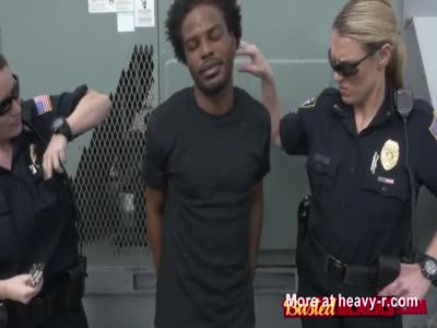 Rooftop steams up when horny milf cops fuck their suspect