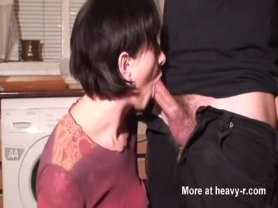 Wife sucking hubby cock in laundry room