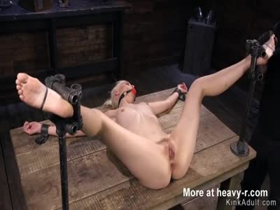 Spread Legs Blonde In BDSM