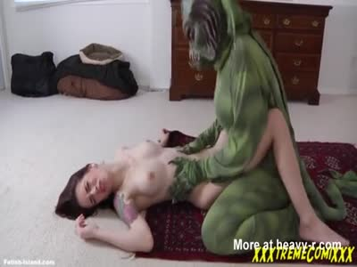 Brunette with tattoos raped by Seamonster