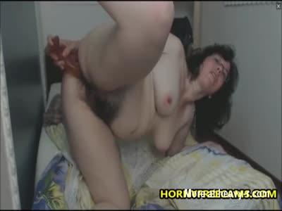 Super Hairy Mature Enjoys Anal Fucking Dildo