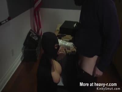 Dude anal fucks busty thief in bondage