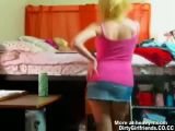Cute blonde teen stripping