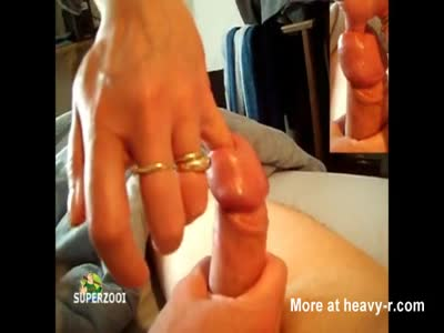 Girl fingering a dick pee hole