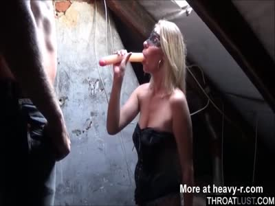 Slave Slapped And Forced To Painfully Deepthroat Dildo
