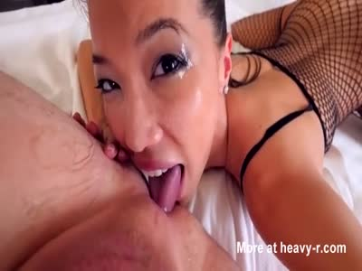 Asian Spit and slobber deepthroat