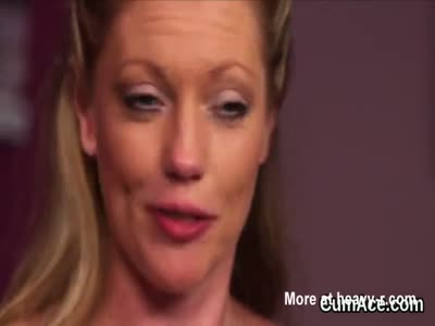 Slutty hottie gets cum load on her face eating all the sperm